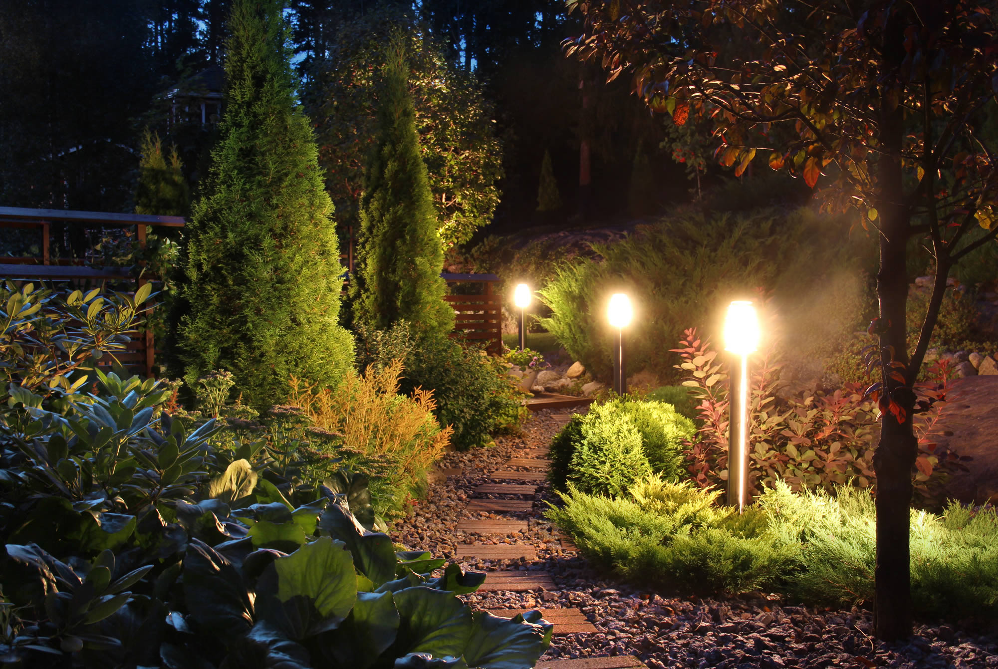 winter garden decking, furniture and lighting